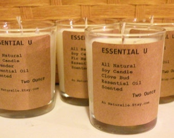 Essential Oil Scented Organic Soy Candles   -  Wholesale Listing For Ten     ESSENTIAL U    Natural Soy - Two Ounce Soy Candles