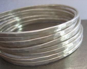 TEN Essential Silver Bangles........Hammered Sterling Silver Bracelets