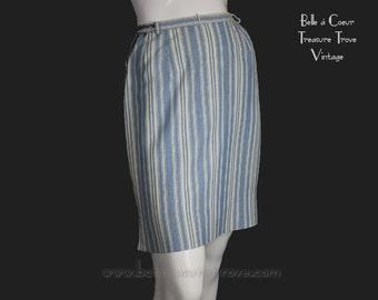 1970s Skirt Vintage Blue and White Stripe XSmall