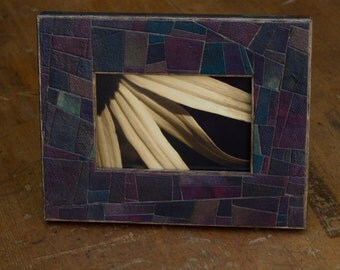 Handmade Paper Stained Glass Abstract Design Mosaic Paper 4 x 6  Manly Decor Wedding Gift  Wood Frame Easel Table Top Jewel Tones