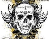 "Steampunk Skull Raising Hell  Since ""birth year"" Custom Printed T Shirt"