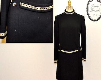 Vintage 1960s Mod Dress / 60s Black Mod Shift Dress / Black Wool Rhinestone Dress / Capriel