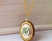 Rose locket necklace mint , small charm , baby locket