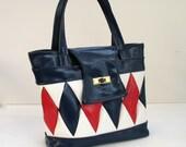 SALE 1960s Mod Harlequin Purse, Red White Blue Diamond, Pleather Vinyl Vintage Handbag