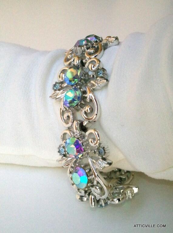 Vintage 1950s CORO Silver Blue Aurora Borealis Rhinestone bracelet. Designer signed AB Costume Jewelry