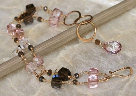 SALE - Gemstone Bracelet - Pink and Brown Jewelry - Gold Bracelet