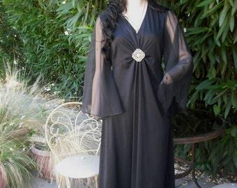 SEXY Formal 1970s Black Dress w/Chiffon Sleeves and Rhinestone Brooch, FORTREL Polyester
