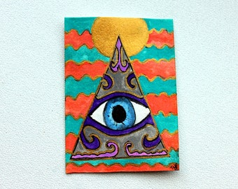 ACEO Original Pyramid and Eye painting from Tina Lynn Ellis
