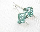 Verdigris Filigree Geometric Earrings, sterling silver, brass vintage dangle earrings, blue green patina