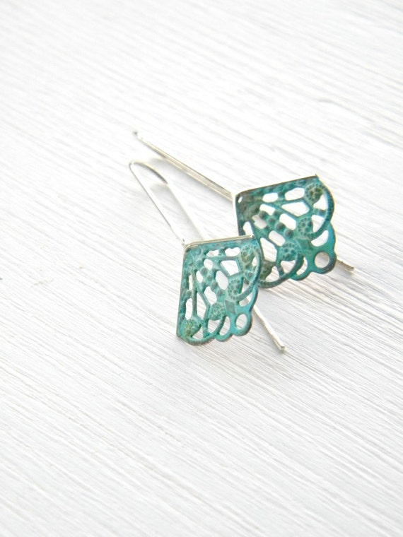 Verdigris Filigree Geometric Earrings, sterling silver, brass vintage dangle earrings, blue green patina