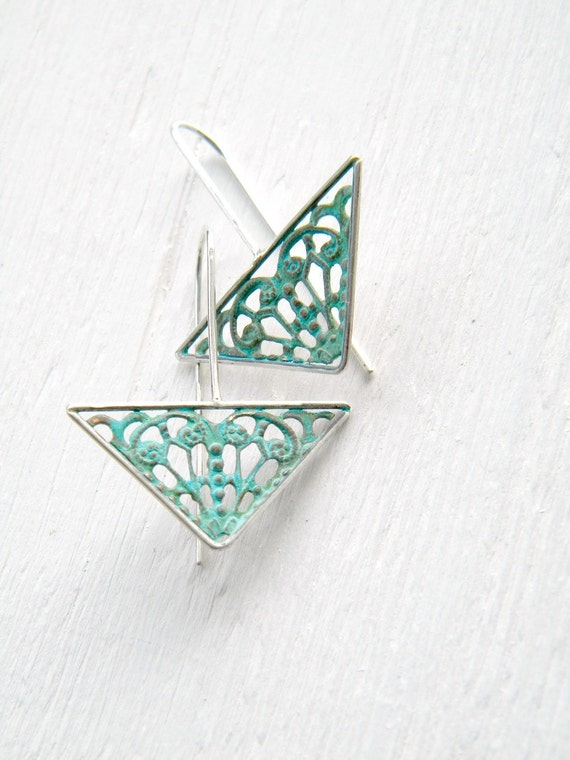 FREE SHIPPING - Verdigris Filigree Geometric Arrows, sterling silver, brass vintage dangle earrings, blue green patina