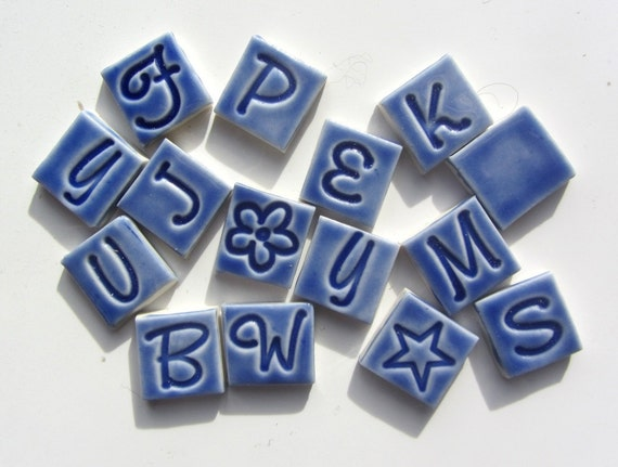 15 Handmade Ceramic Mosaic Tiles Letters By Redshedceramics