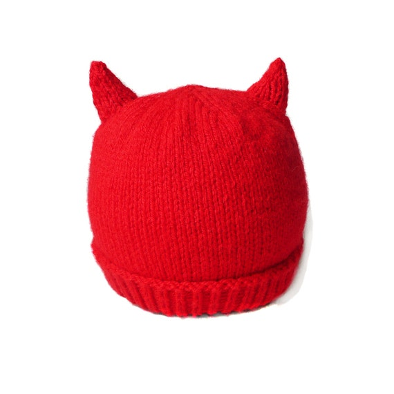 Handknit red devil halloween baby hat ready to ship