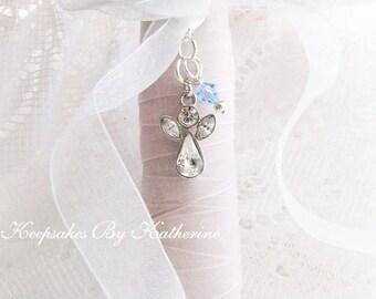 Crystal Guardian Angel Bouquet Charm, Crystal Angel Wedding Keepsake