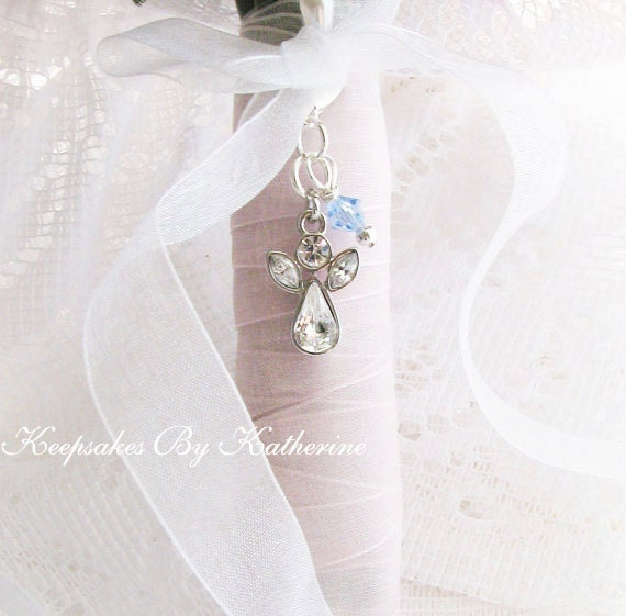 Crystal Guardian Angel Bridal Bouquet Charm, Angel Charm, For the Bride, Something Blue