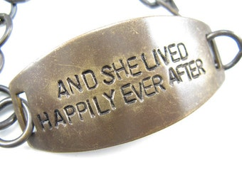 And She Lived Happily Ever After  Hand Stamped Bracelet