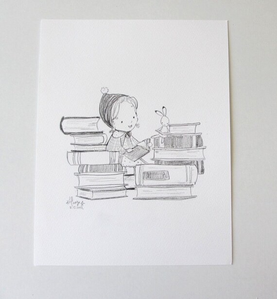 ORIGINAL SKETCH---Bookish-- by Kit Chase