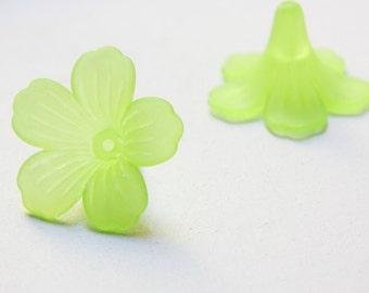 10pcs flower-shaped acrylic beads-Flower-Matte Green 28x45mm (25A12M9)