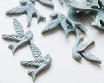 6pcs Acrylic Bird Cabochons-Gray 22x25mm (57F5)