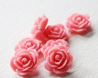8pcs Acrylic Flower Cabochons-Pink 19mm (14F2)