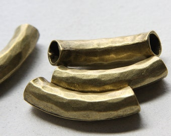 4pcs Antique Brass Tone Base Metal Findings-Textured Curved Tube 43x10mm with 8mm hole (13425Y-E-309)