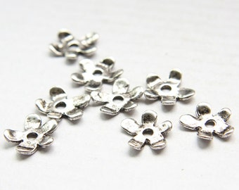 24pcs Oxidized Silver Tone Base Metal Cap- Flower 13x2mm  (17943Z-H-265A)
