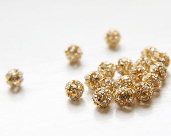 4pcs Czech Gold Tone Base Metal  Rhinestone Balls - Crystal 6mm (1087)