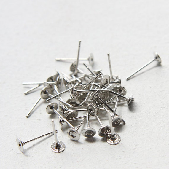 40pcs (20 Pairs) White Gold Tone of Earring Posts or stud -4mm pad (J-45)