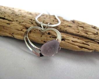 Heart Pendant - Amethyst Sea Glass - Lavender Pendant - Love Pendant