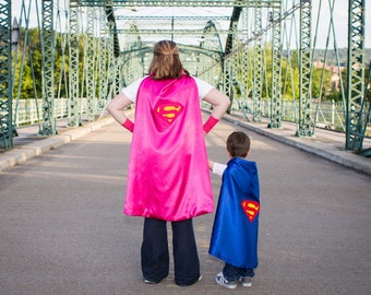 ADULT SUPER WOMAN Cape- Reversible Pink on inside