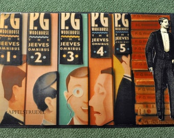 """Original Artwork Poster. Jeeves and PG Wodehouse. Approx. 18"""" x 29"""""""