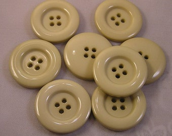 8 Ecru 1 inch 4 Hole Buttons Light Tan