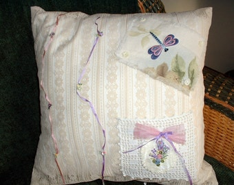 """Pillow Cover, """"My Flat in Paris"""", Love Note Pocket, Firefly, Vintage Handmade, French Country, Cottage Chic, Price Reduction"""
