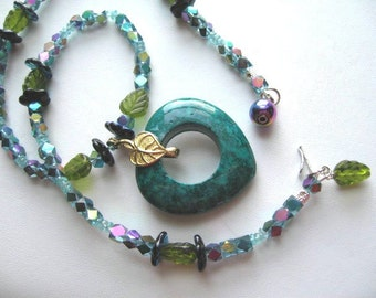Rocky Mountain Rainbow ... natural apatite and fossil stone, has matching bracelet .. #123