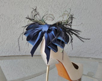 Bridal Party Wedding Navy Blue Satin Ribbon Bow And Feather Shoe Clips Set Of Two