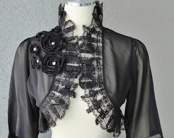 Wedding Bolero Shrug Black White Or Gray Chiffon With Flowers and Rhinestones 3/4 Sleeves