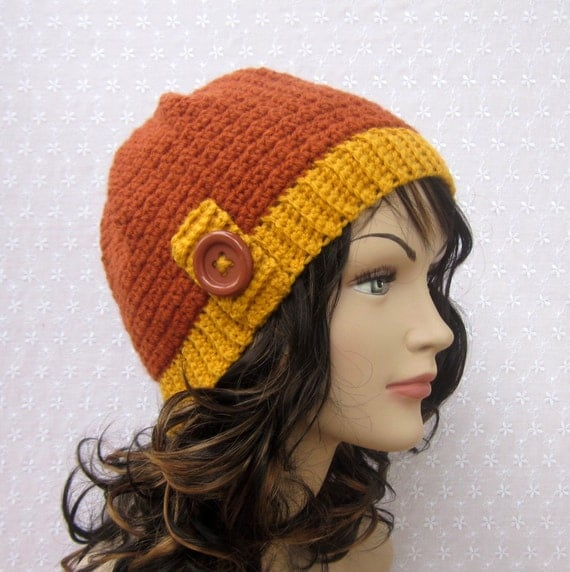 Burnt Orange Beanie Crochet Hat - Womens Cap with Yellow Trim - Fall Winter Fashion Accessories