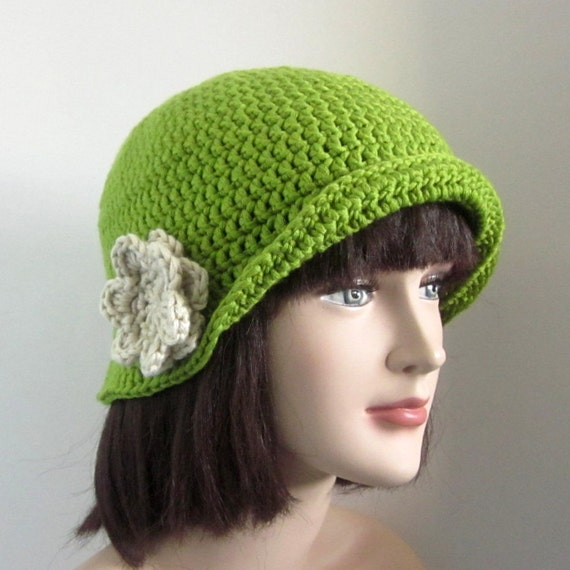 Green Crochet Hat - Womens Cloche - Ladies Flapper with Beige Flower - Fall Fashion Accessories