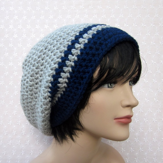 Mens Slouch Beanie - Gray Blue Slouchy Crochet Hat - Oversized Cap - Fall Winter Fashion Accessories