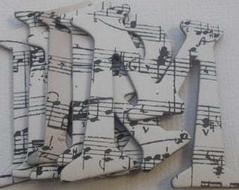 "PIANO MUSIC NOTES  Chipboard  Letter Die Cuts -  1.5"" inch Letters - 50 Pieces"