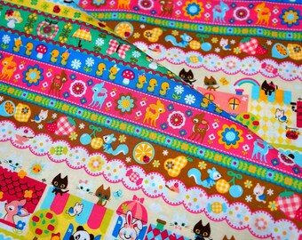 Animal fabric colorful print fat quarter (n441)