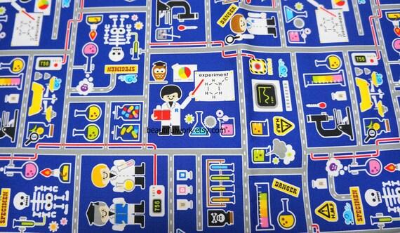 Japanese Fabric Little Scientist fat quarter  PRECUT fabric   (hb4)