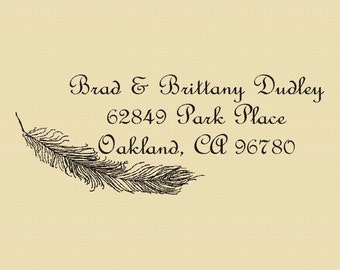 Brad and Brittany Dudley Feather Custom Return Address - Rubber Stamp -  Design R011