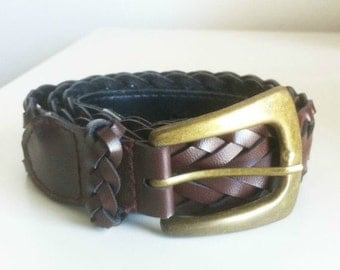 Brown Braided Belt with Brass Buckle - Vintage