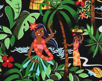 One (1) Yard - Leis, Luaus and Aloha Hula Girls Fabric Alexander Henry Fabric 15093B Black