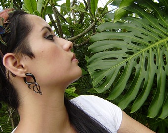 Fake gauge earring, Split Gauge Earrings, Organic ,Black Horn ,  Tribal style,organic,hand made,fake piercings