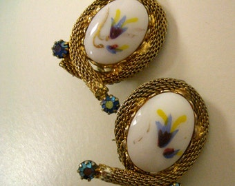 Vintage Hand Painted Ceramic Clip On Earrings with Gold Tone Metal and Blue Rhinestones