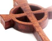 wooden celtic cross ornamental wall hanging