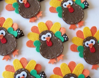 Felt Turkey Hair Clip - Thanksgiving Clips - Chocolate Brown, Orange and Yellow - Fall and Autumn Holiday Hair Bows