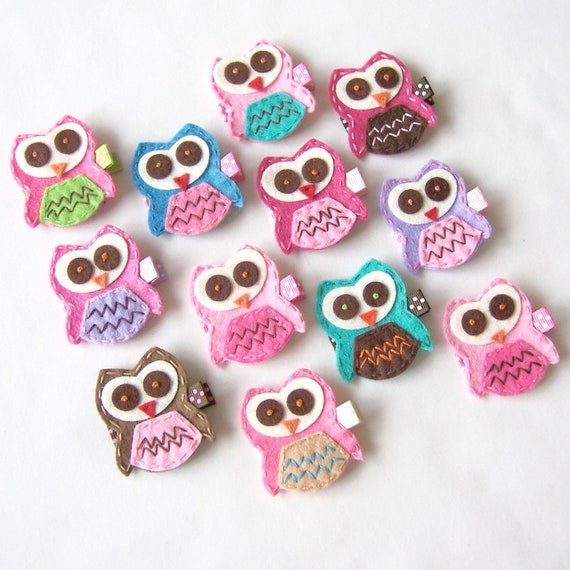 Felt Owl Hair Clips - You Pick 4 Clippies - Hot Pink, Purple, Chocolate Brown, Turquoise - Cute every day clip - Birthday party favor
